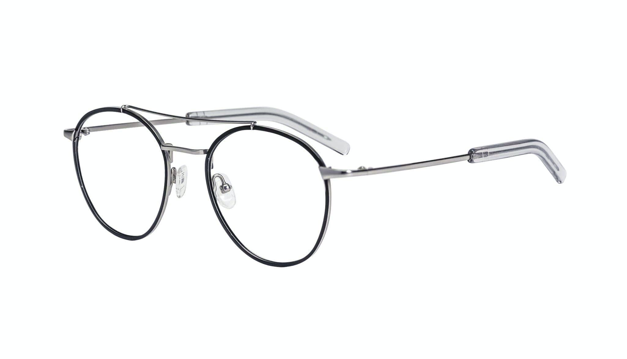 Affordable Fashion Glasses Aviator Eyeglasses Men Gravity Black Silver Tilt