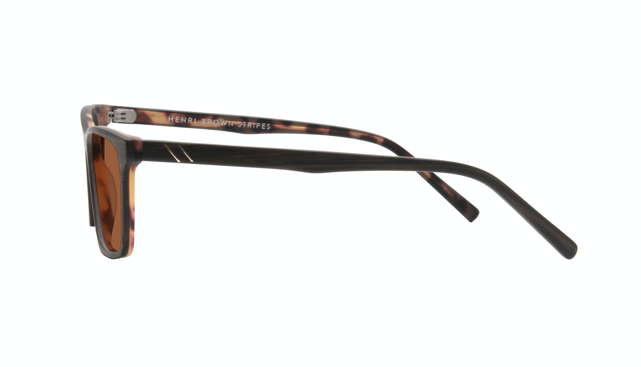 Lunettes tendance Rectangle Lunettes de soleil Hommes Henri Brown Stripes Profil