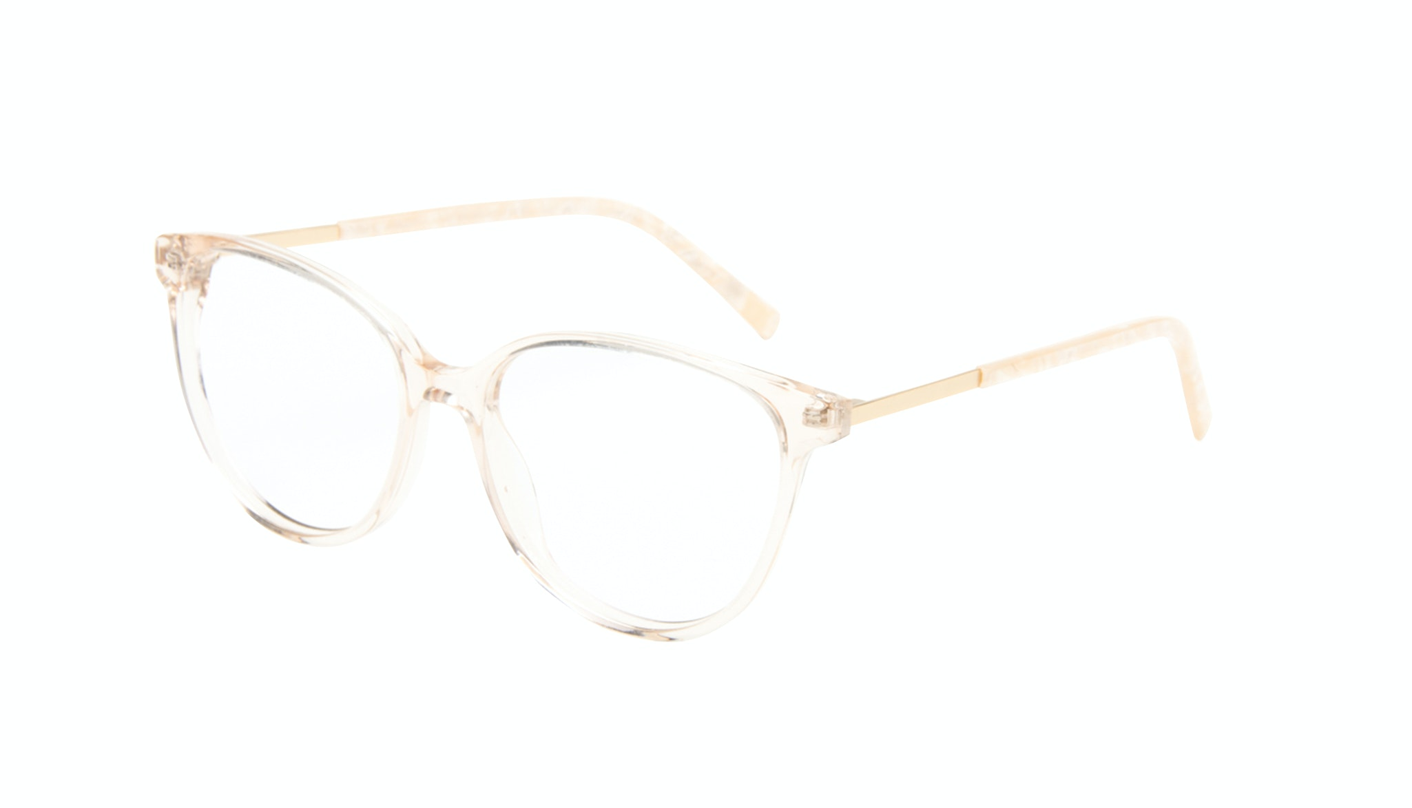 Affordable Fashion Glasses Round Eyeglasses Women Imagine II Golden Marble Tilt
