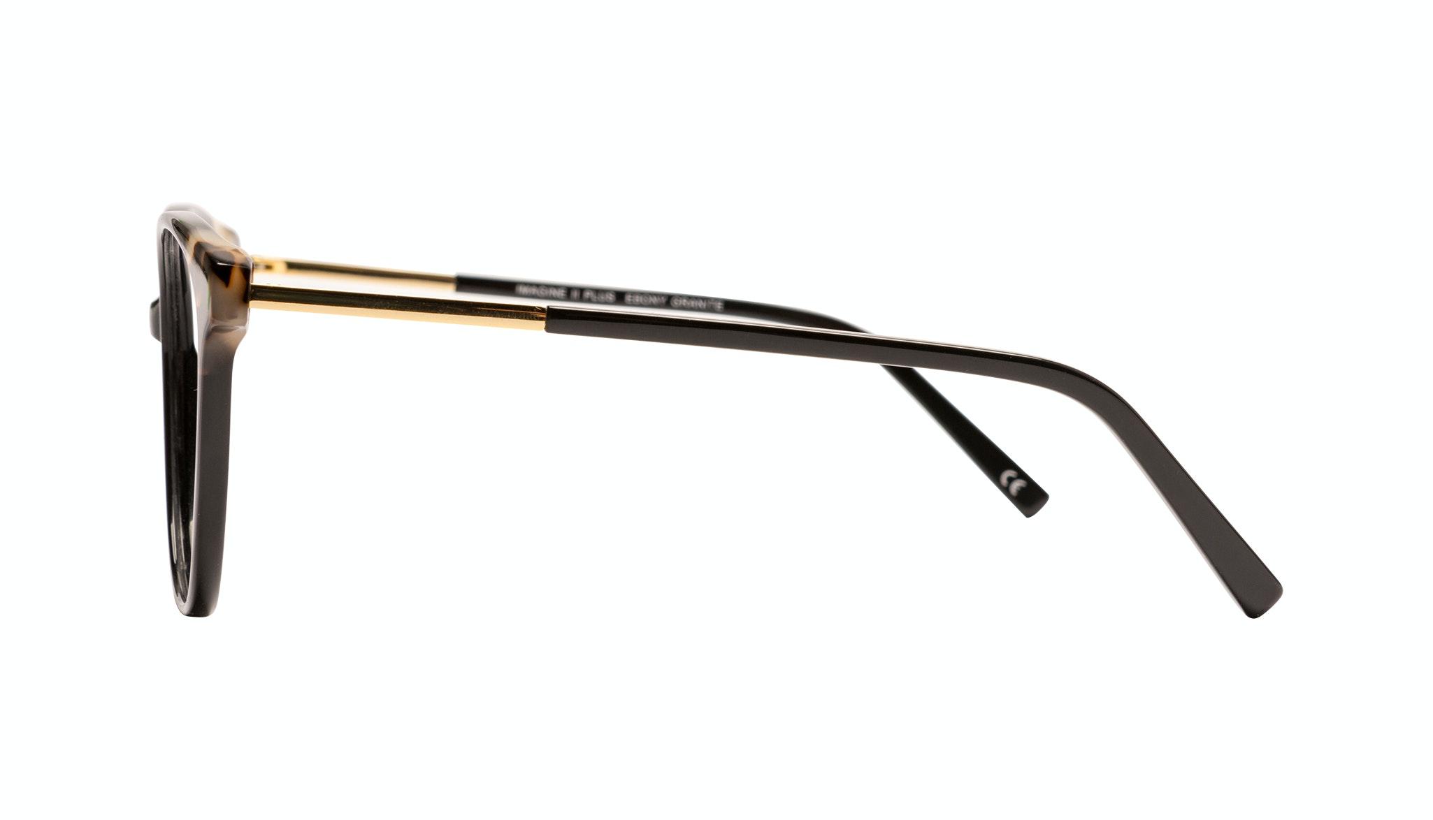 Affordable Fashion Glasses Round Eyeglasses Women Imagine II Plus Ebony Granite Side
