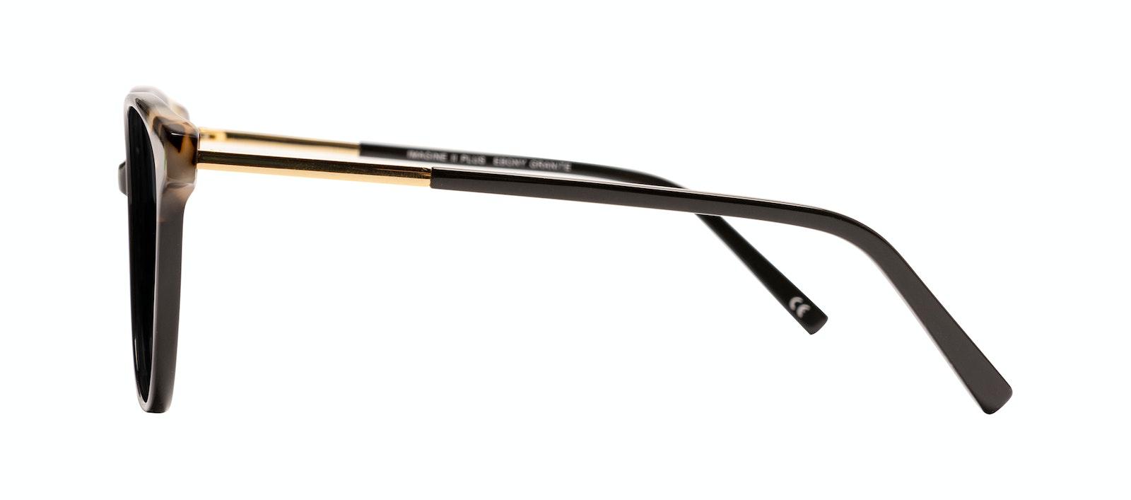 Affordable Fashion Glasses Round Sunglasses Women Imagine II Plus Ebony Granite Side