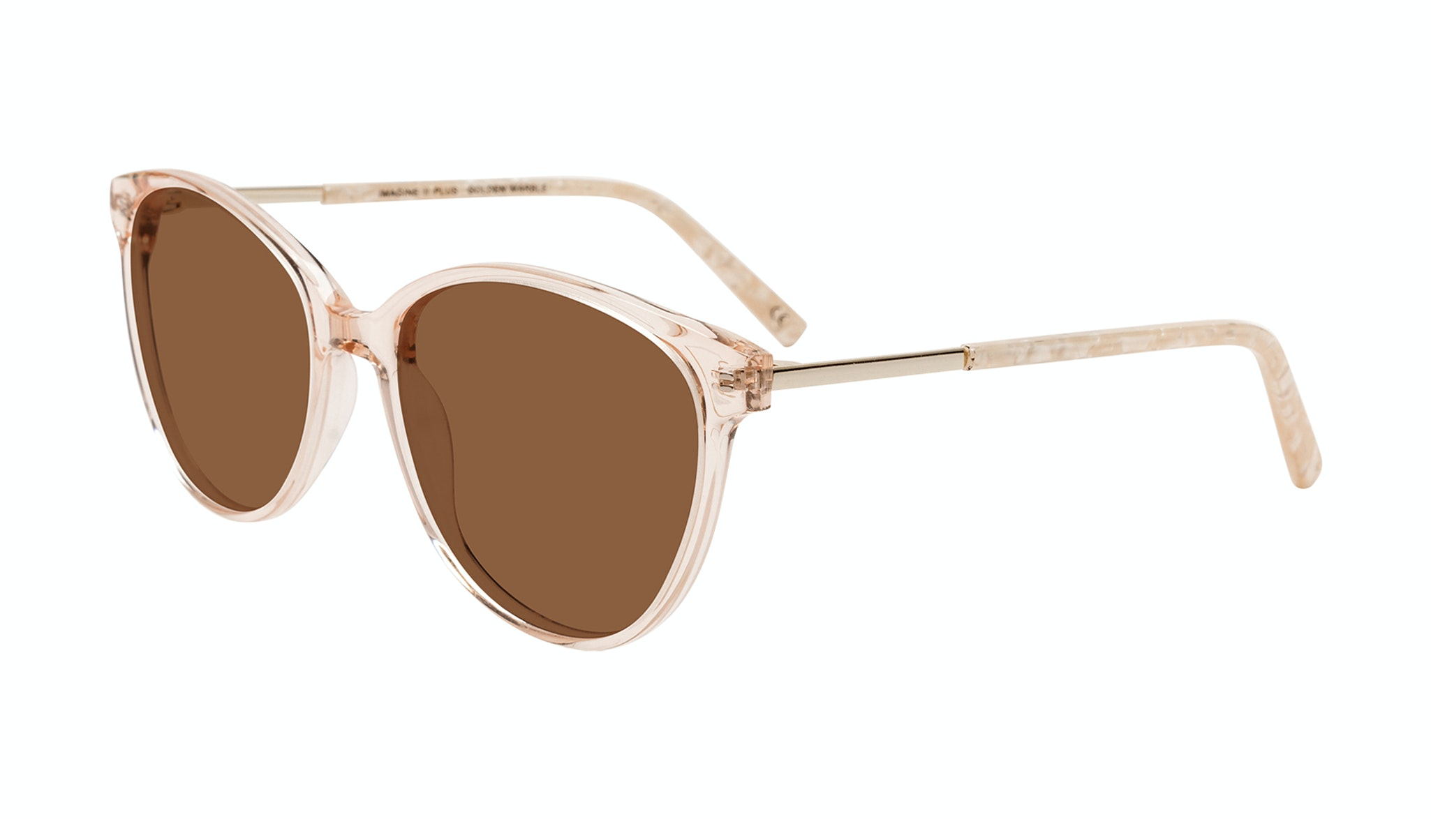 Affordable Fashion Glasses Round Sunglasses Women Imagine II Plus Golden Marble Tilt