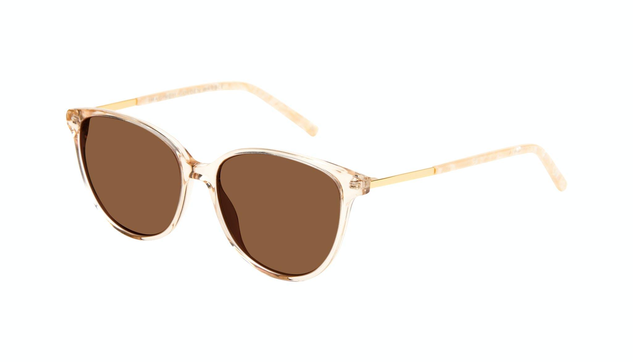 Affordable Fashion Glasses Round Sunglasses Women Imagine II Golden Marble Tilt