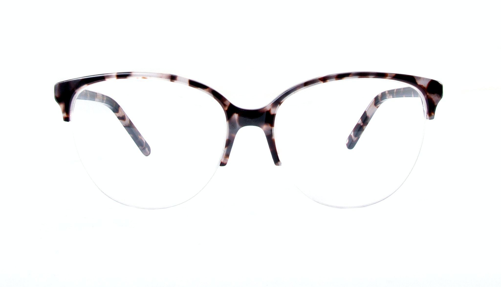 Affordable Fashion Glasses Cat Eye Round Semi-Rimless Eyeglasses Women Imagine Light Mocha Tortoise Front