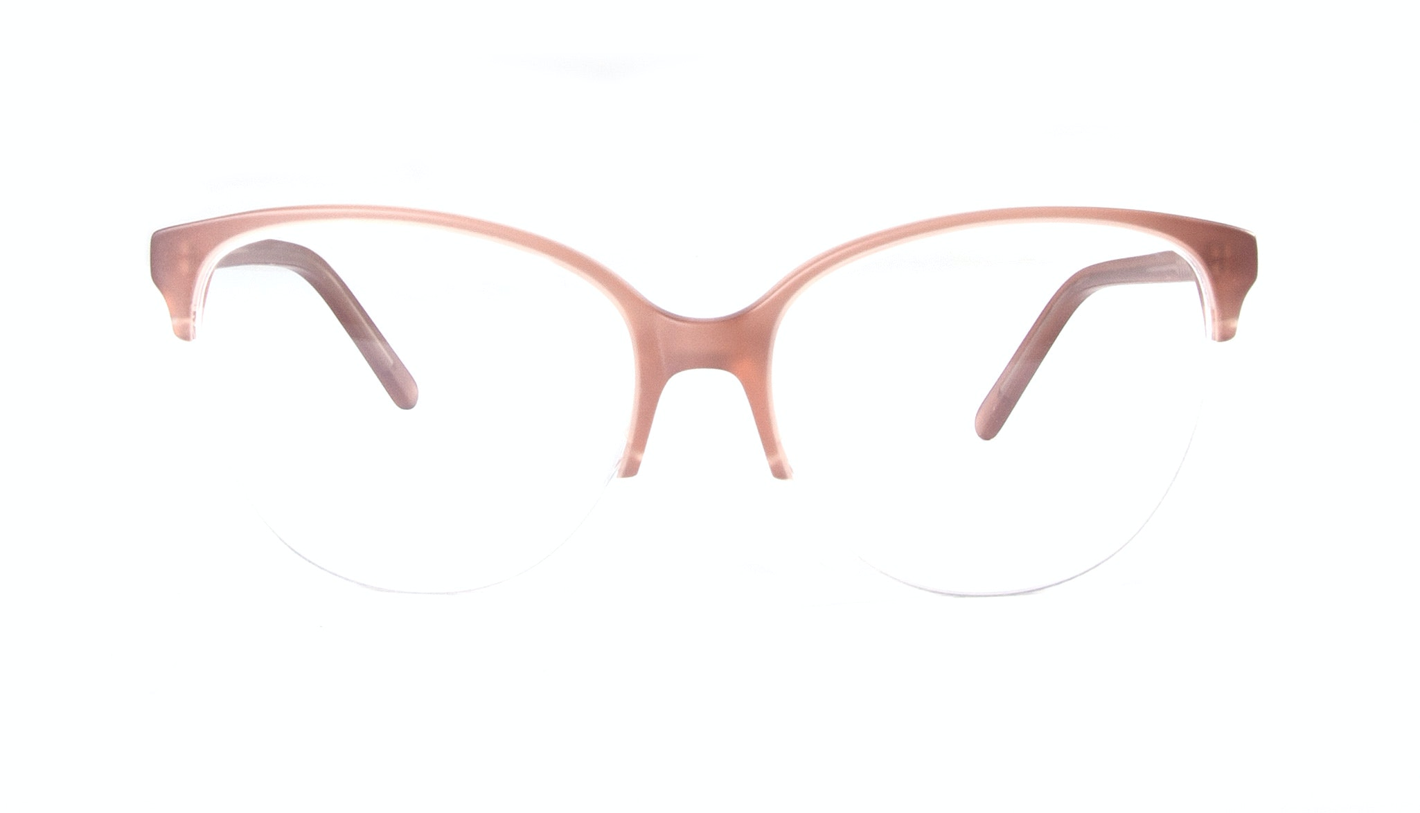 Affordable Fashion Glasses Cat Eye Round Semi-Rimless Eyeglasses Women Imagine Light Old Rose Front