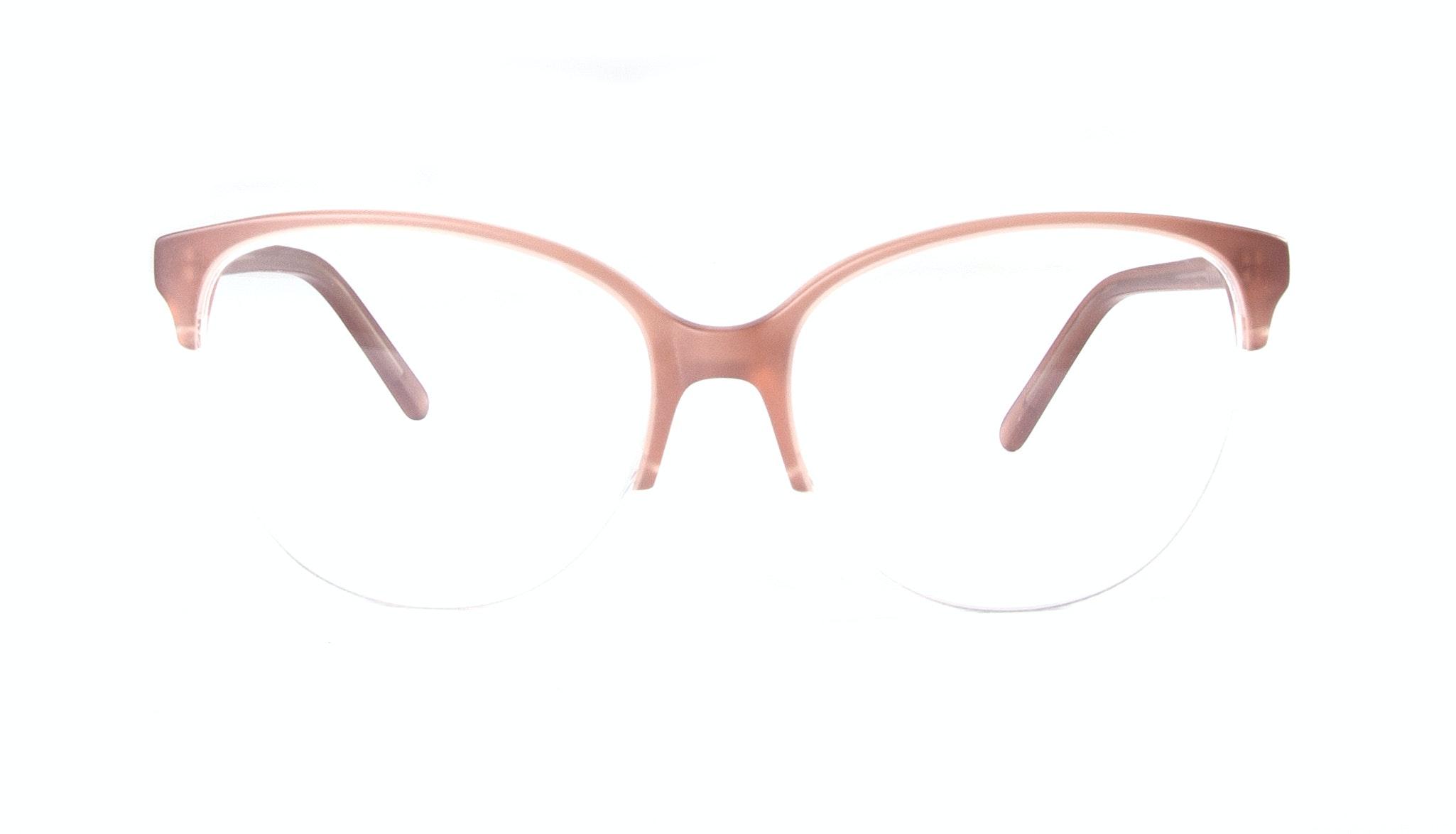 Affordable Fashion Glasses Cat Eye Round Semi-Rimless Eyeglasses Women Imagine Light Old Rose