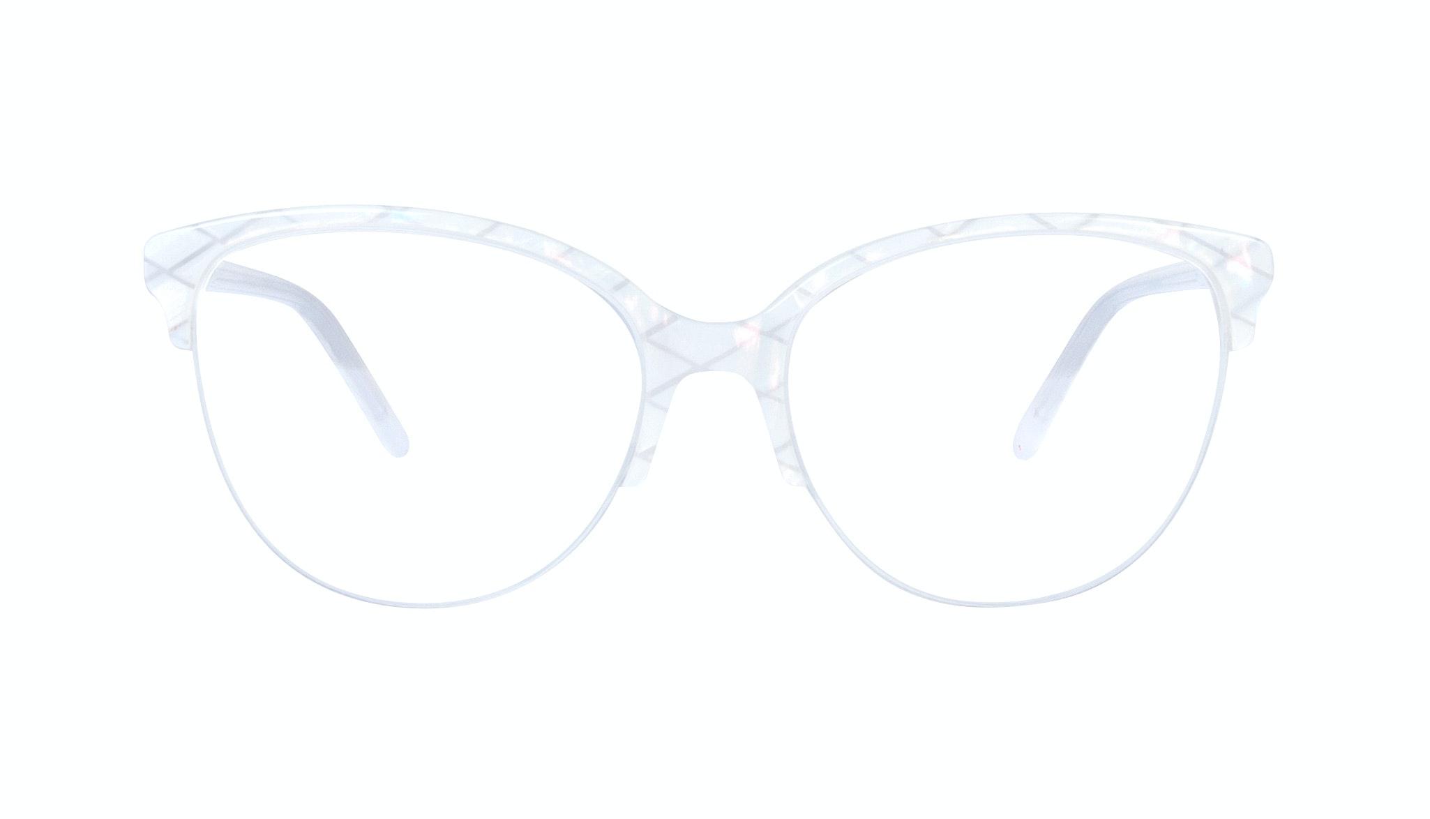 Affordable Fashion Glasses Cat Eye Round Semi-Rimless Eyeglasses Women Imagine Light Opaline