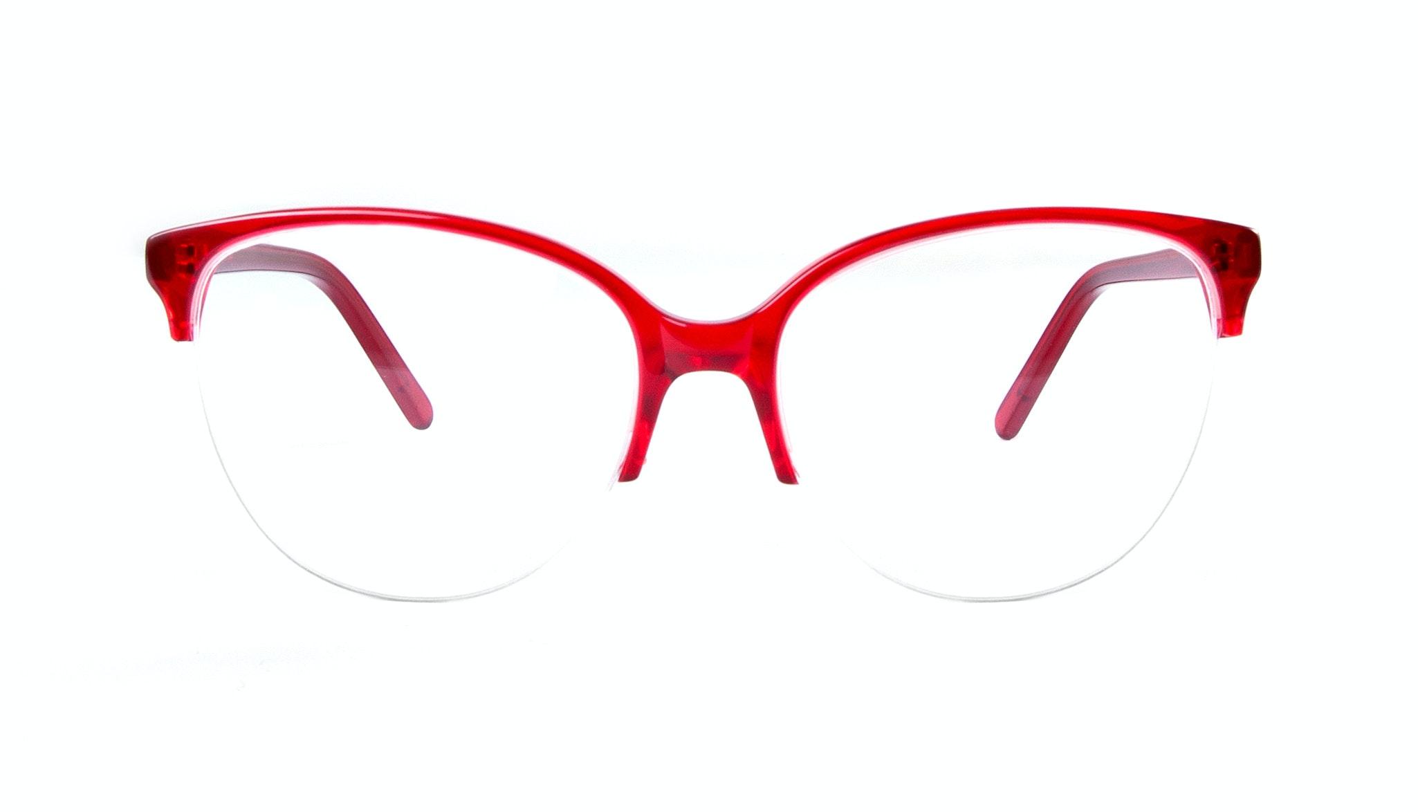 Affordable Fashion Glasses Cat Eye Round Semi-Rimless Eyeglasses Women Imagine Light Rouge