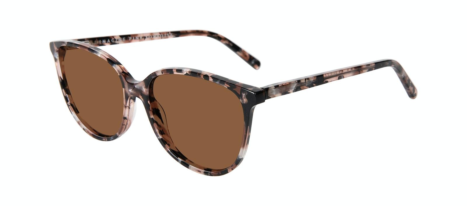 Lunettes tendance Oeil de chat Lunettes de soleil Femmes Imagine M Pink Tortoise Incliné