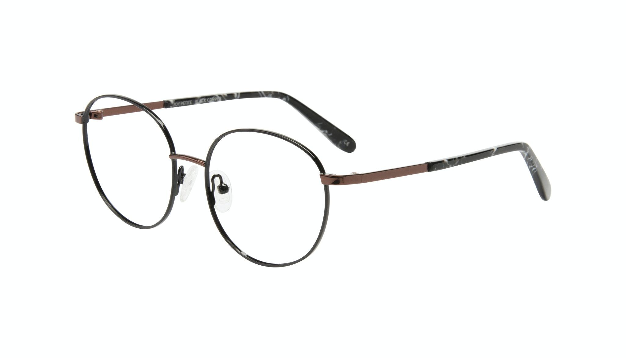 Affordable Fashion Glasses Round Eyeglasses Women Joy Petite Black Copper Tilt