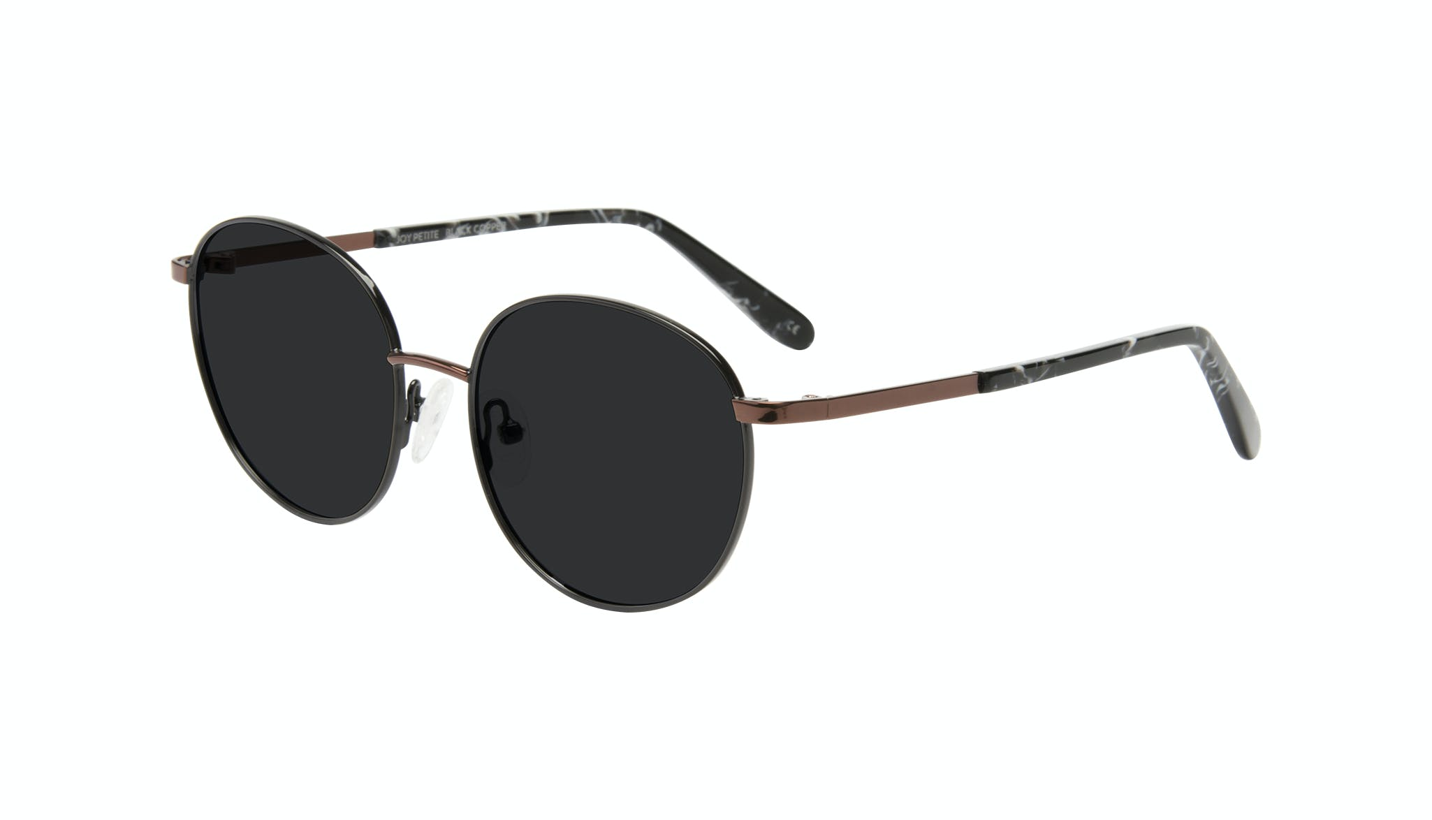Affordable Fashion Glasses Round Sunglasses Women Joy Petite Black Copper Tilt