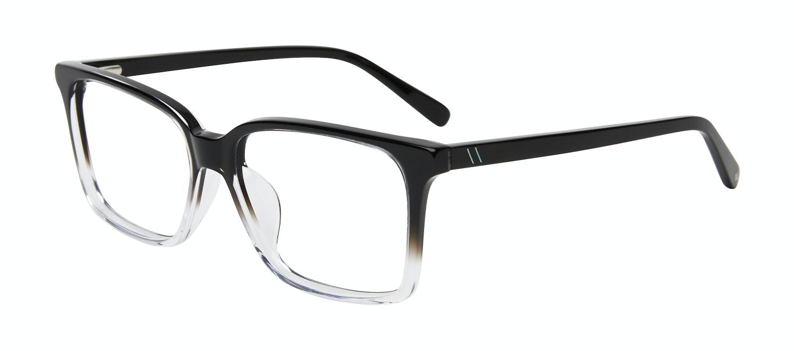 Affordable Fashion Glasses Square Eyeglasses Men Lapel XL Onyx Clear Tilt