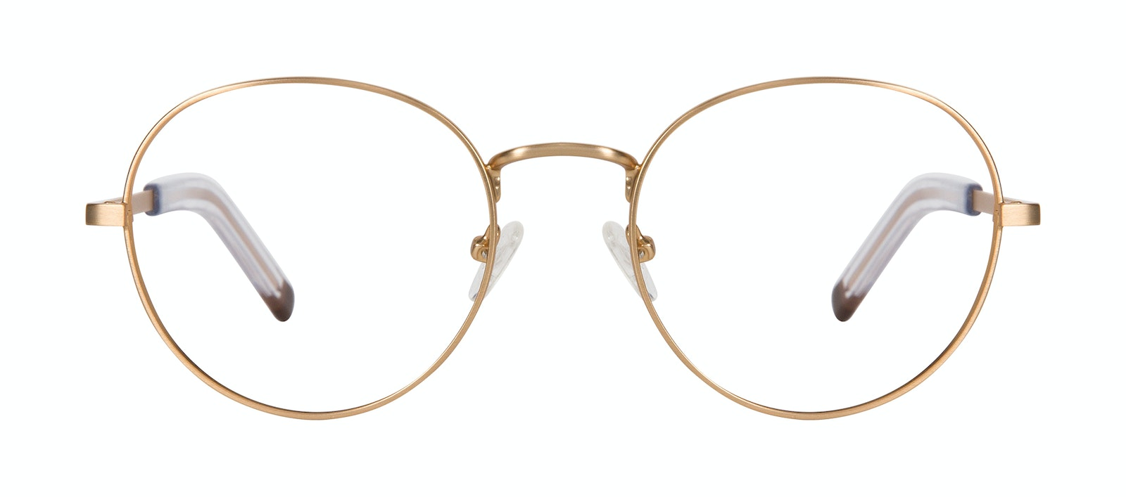 Affordable Fashion Glasses Round Eyeglasses Men Lean XL Gold Matte Front
