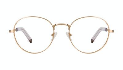 Affordable Fashion Glasses Round Eyeglasses Men Lean XL Gold Matte Front