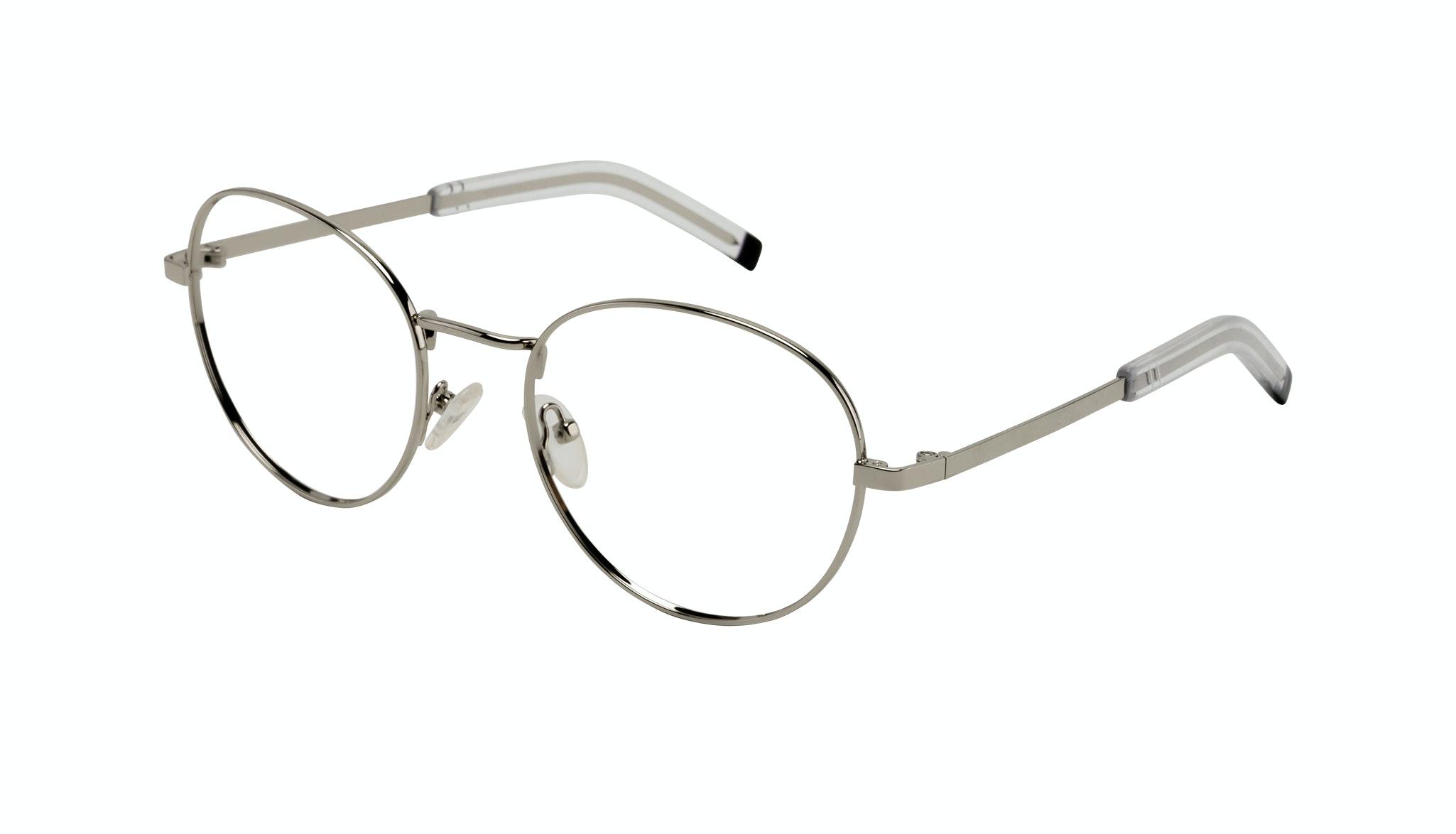Affordable Fashion Glasses Round Eyeglasses Men Lean XL Silver Tilt