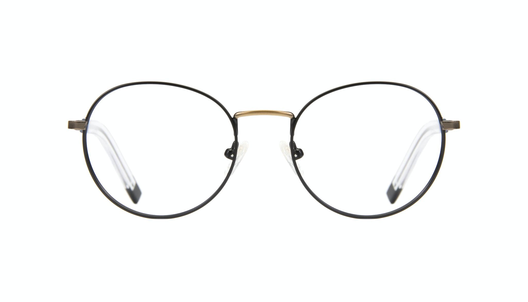 Affordable Fashion Glasses Round Eyeglasses Men Lean Dark Brass Front