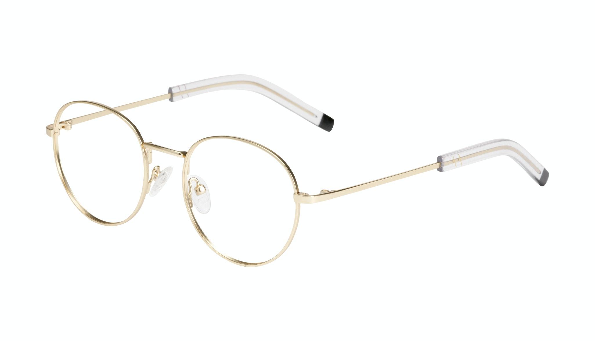 Affordable Fashion Glasses Round Eyeglasses Men Lean Gold Matte Tilt