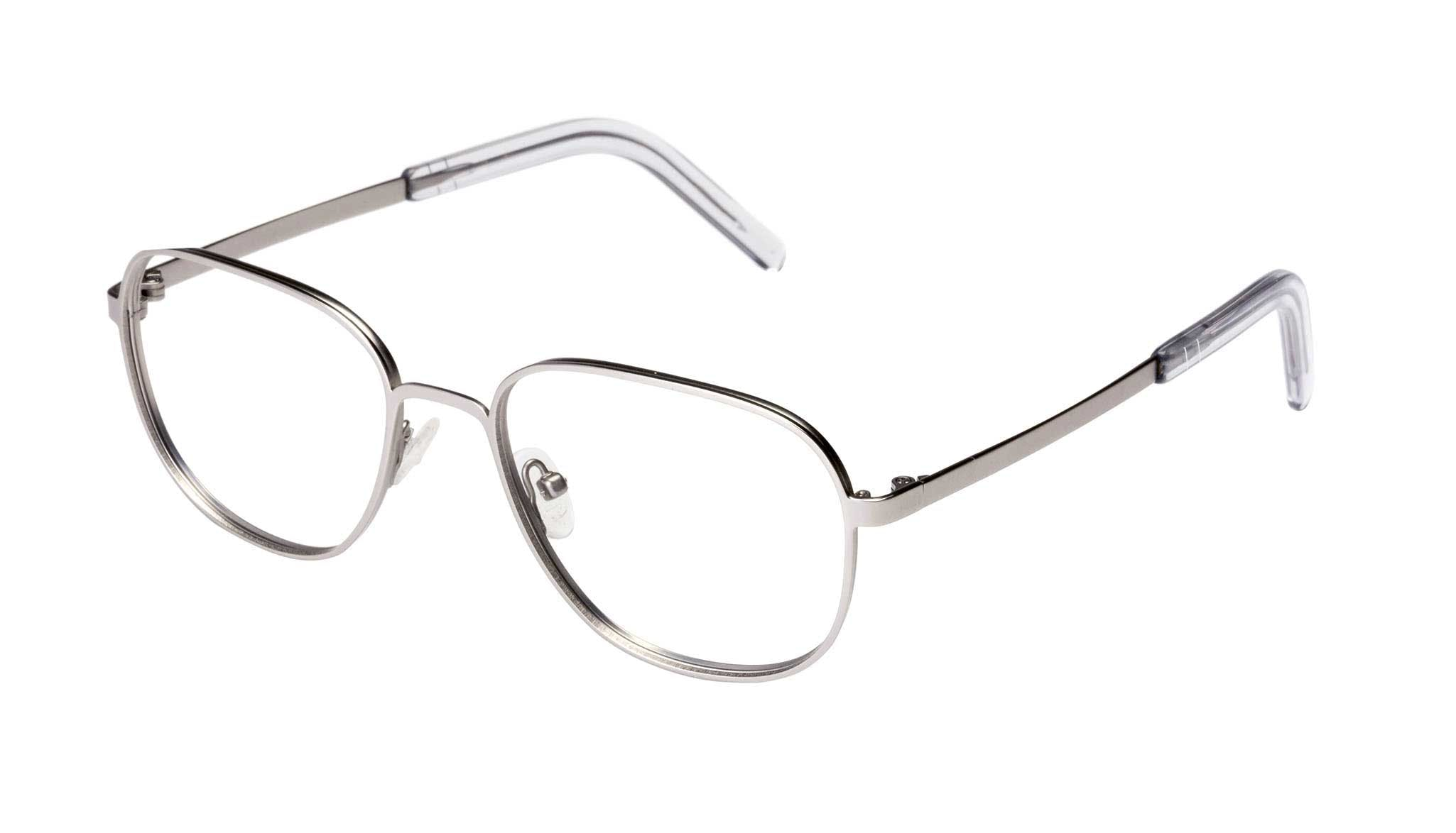 Affordable Fashion Glasses Rectangle Square Eyeglasses Men Line Silver Matte Tilt
