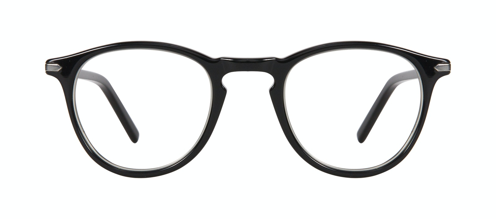 Affordable Fashion Glasses Round Eyeglasses Men Looks Onyx Silver Front