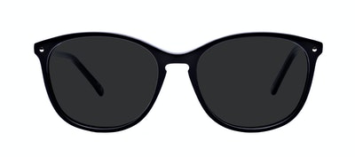 Affordable Fashion Glasses Round Sunglasses Women Versa Pitch Black Front