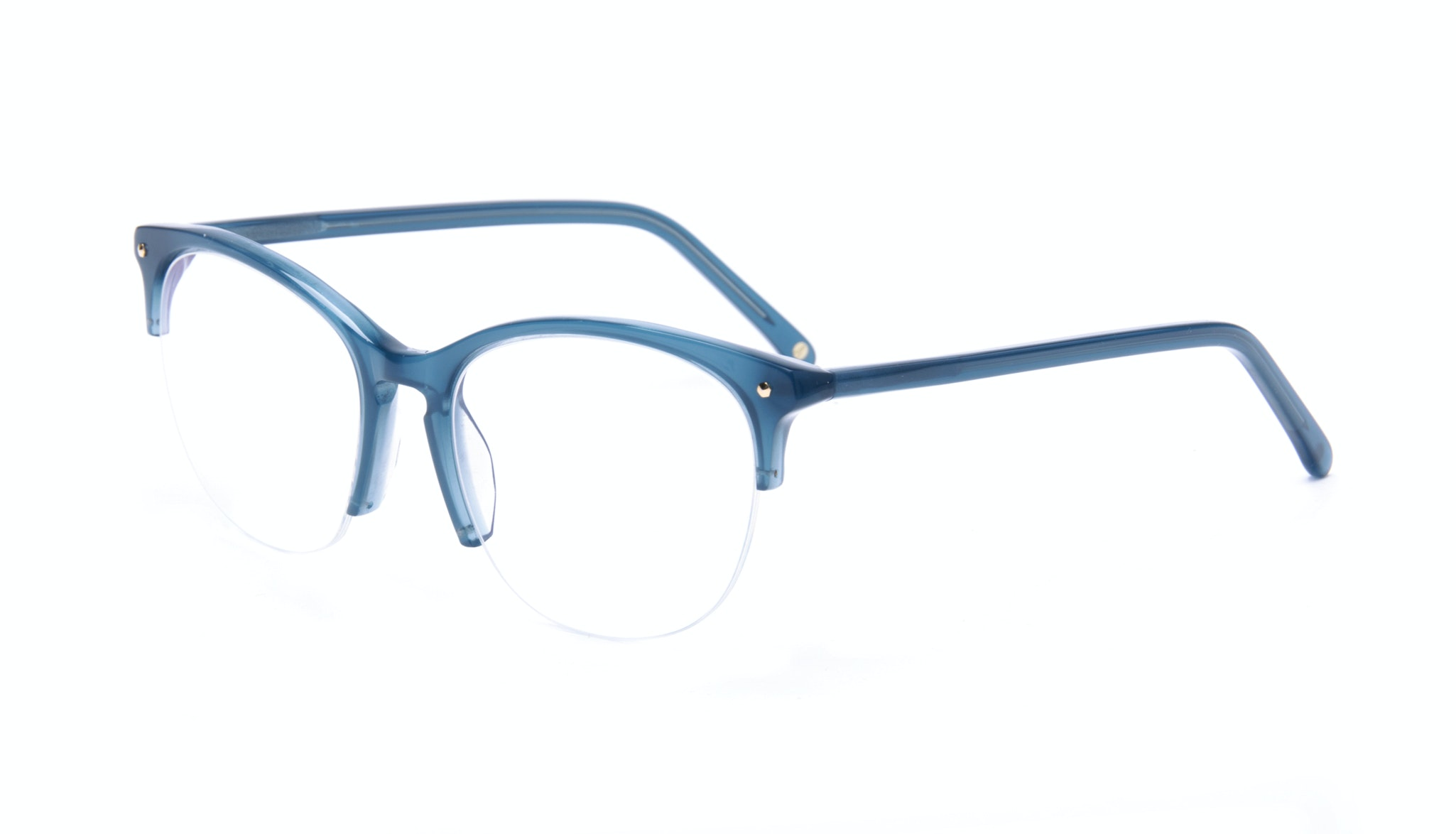 Affordable Fashion Glasses Rectangle Square Round Semi-Rimless Eyeglasses Women Nadine Light Marine Tilt