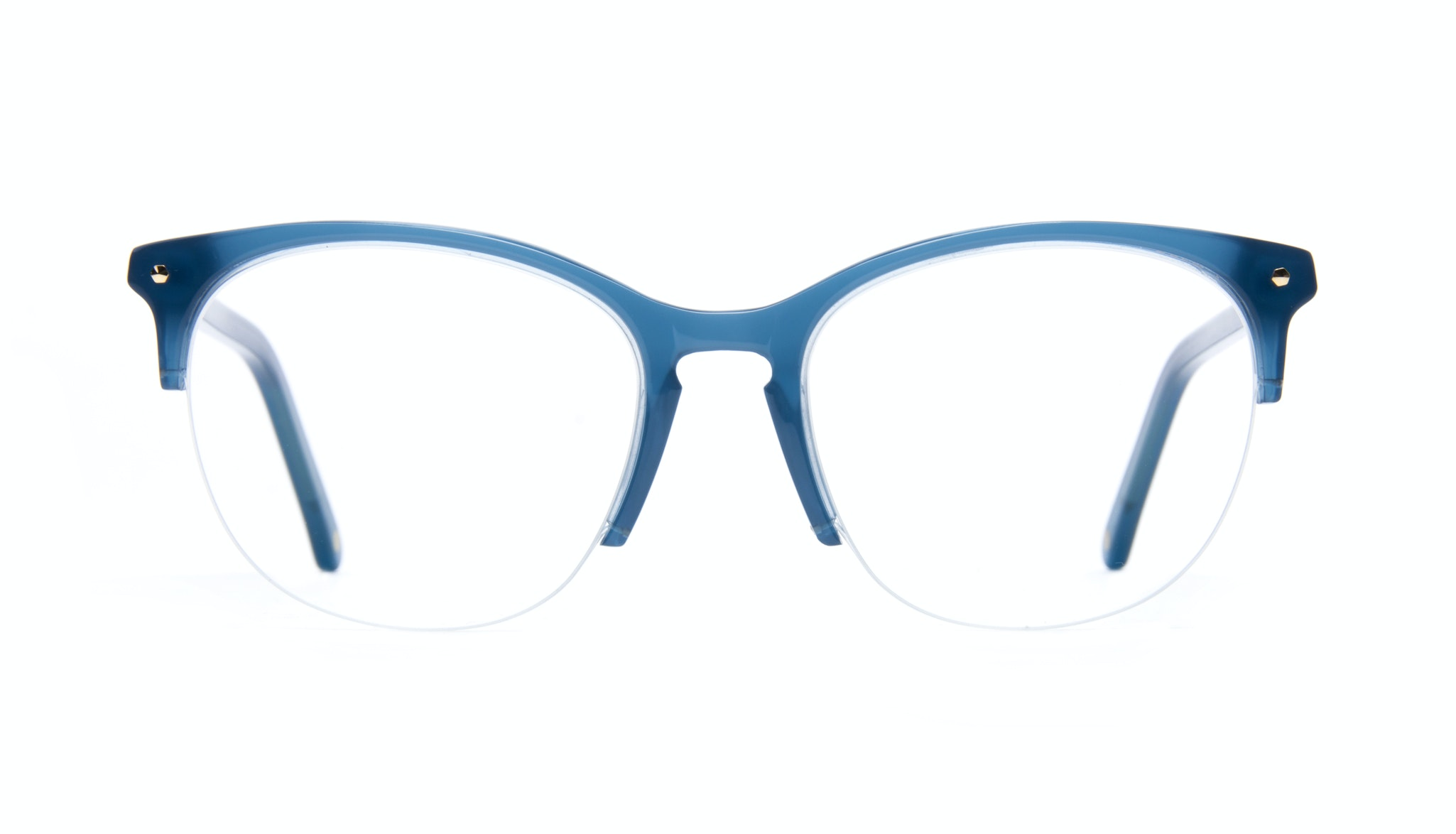 Affordable Fashion Glasses Rectangle Square Round Semi-Rimless Eyeglasses Women Nadine Light Marine Front
