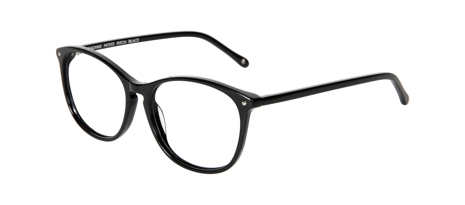 Affordable Fashion Glasses Round Eyeglasses Women Nadine Petite Pitch Black Tilt