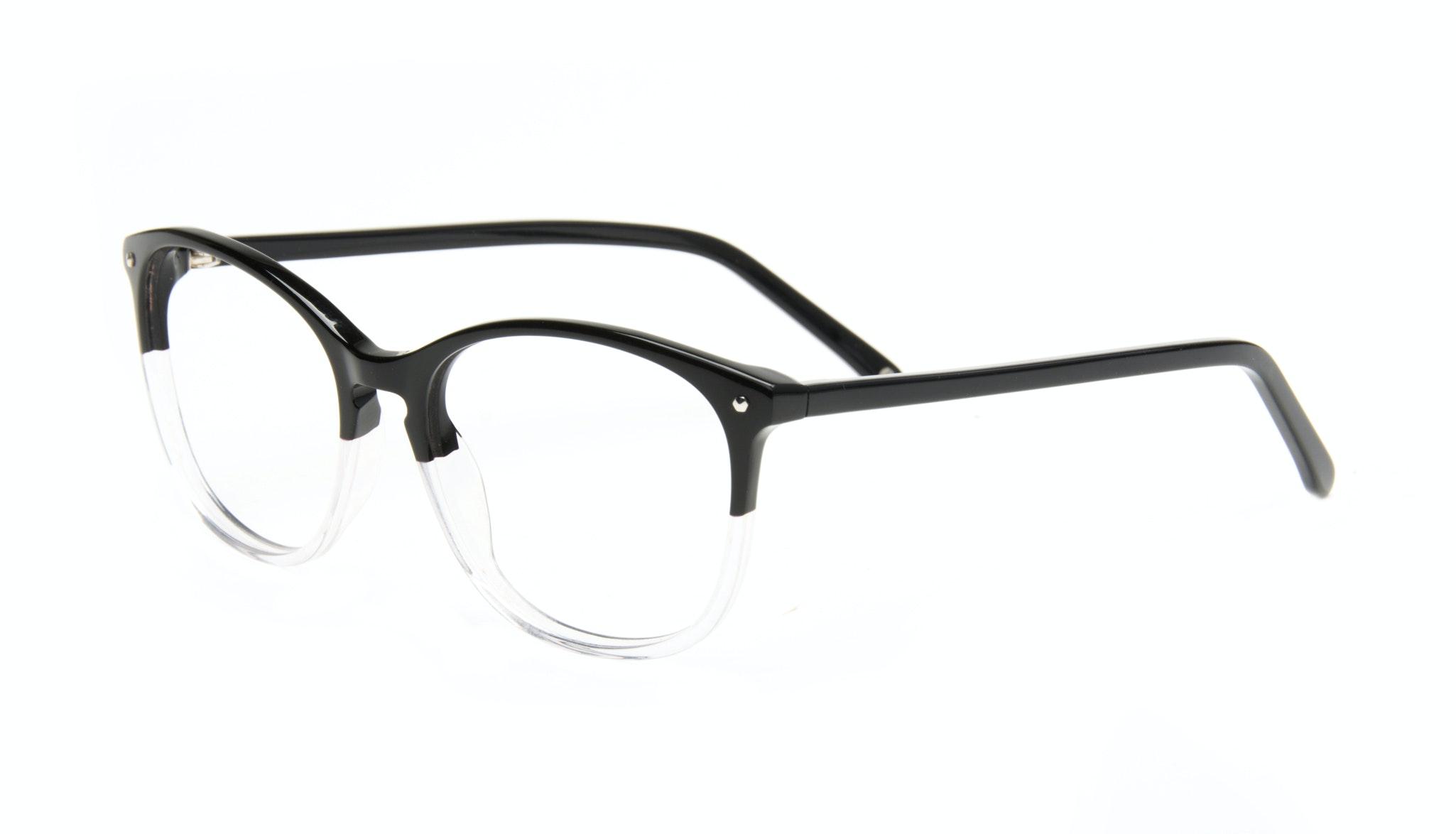 Affordable Fashion Glasses Rectangle Round Eyeglasses Women Nadine Two Tone Black Tilt