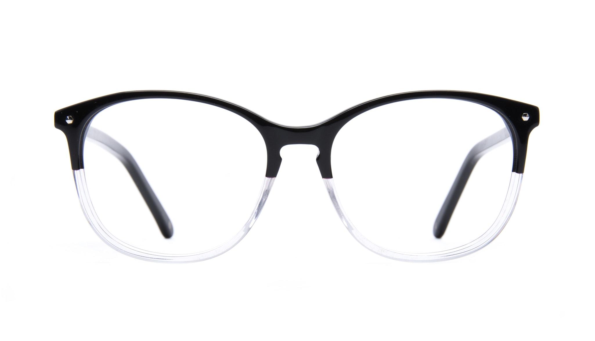 Affordable Fashion Glasses Rectangle Round Eyeglasses Women Nadine Two Tone Black Front