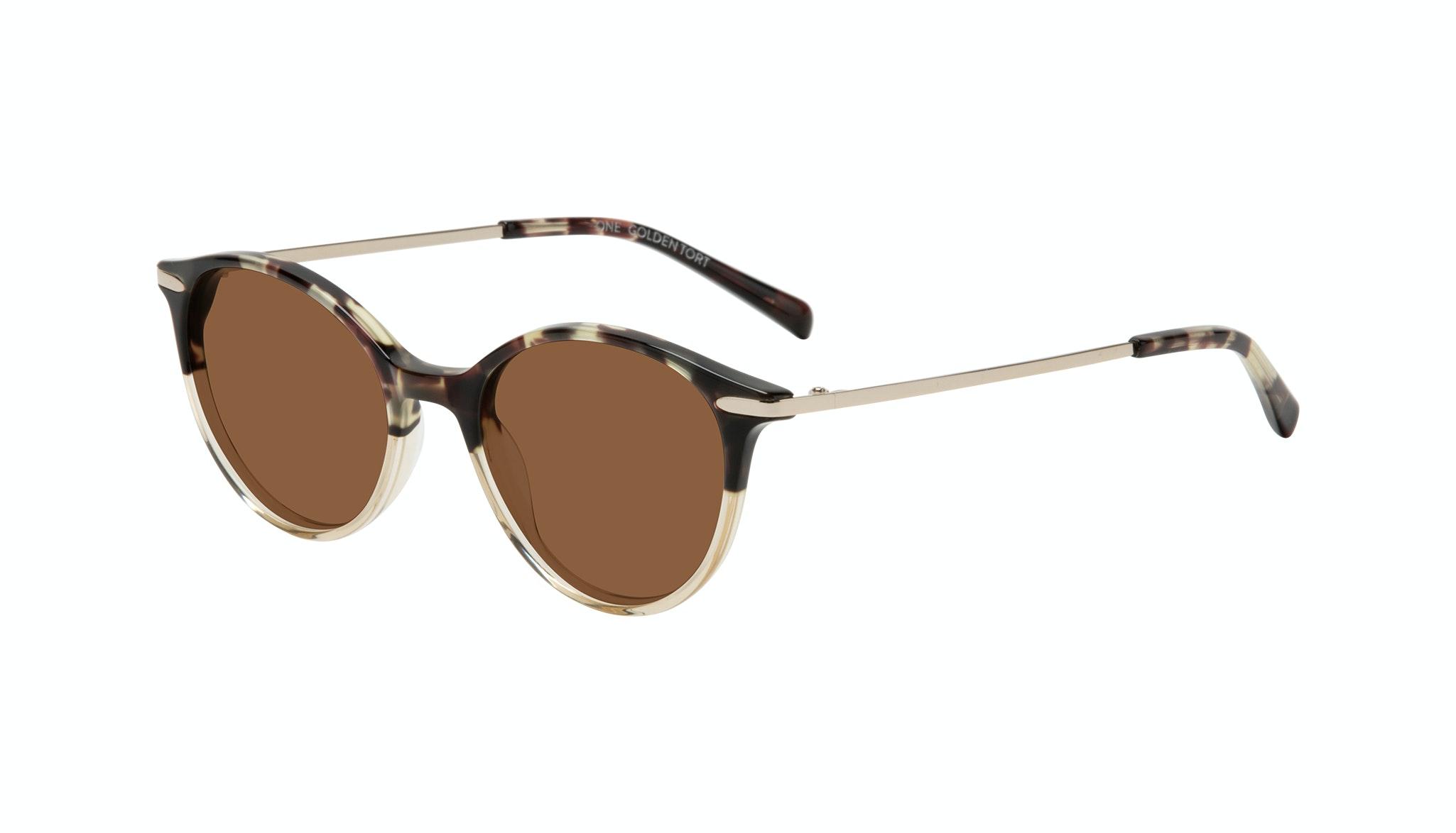 Affordable Fashion Glasses Round Sunglasses Women One Golden Tort Tilt