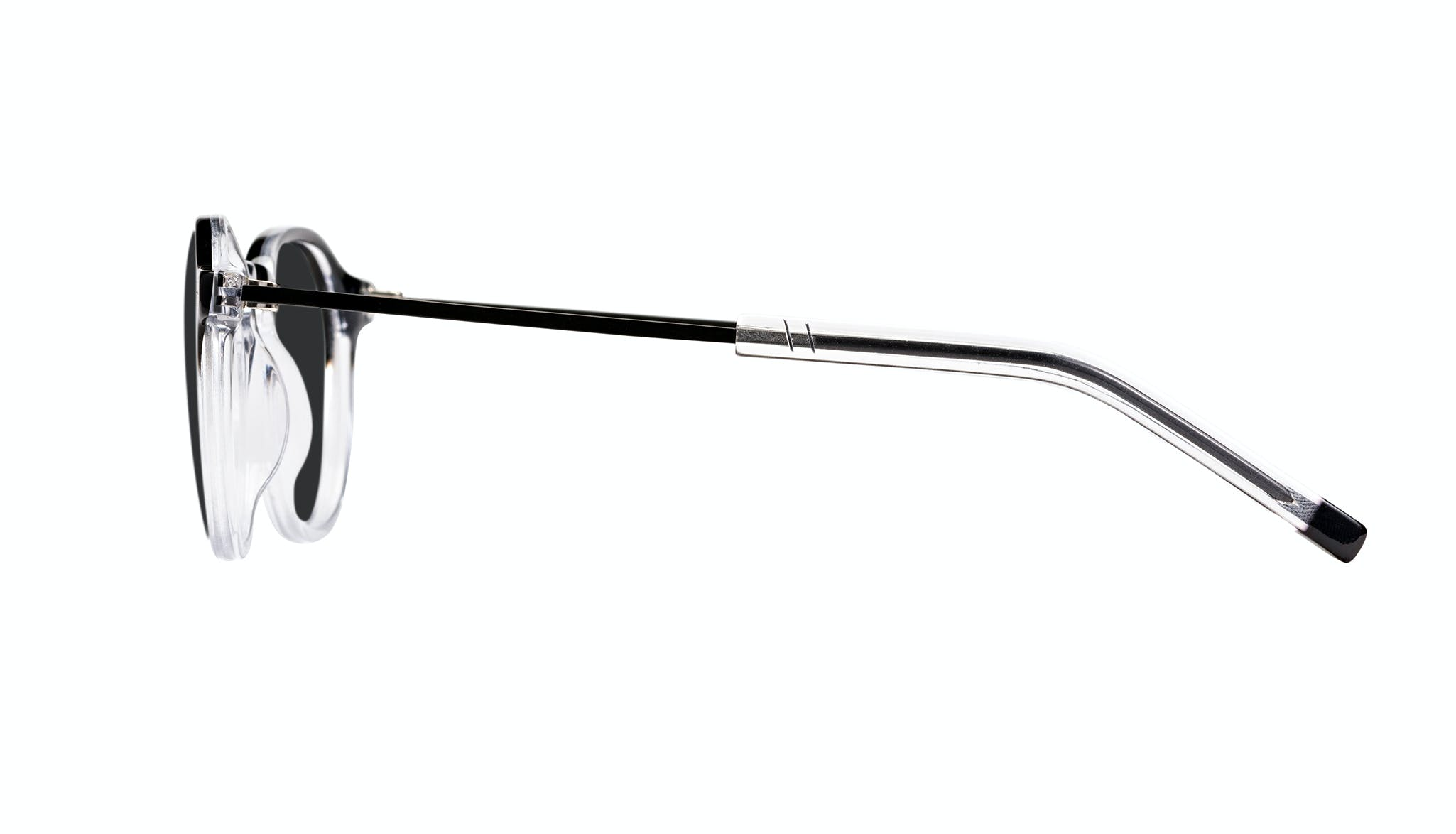 Affordable Fashion Glasses Round Sunglasses Men Prime Onyx Clear Side
