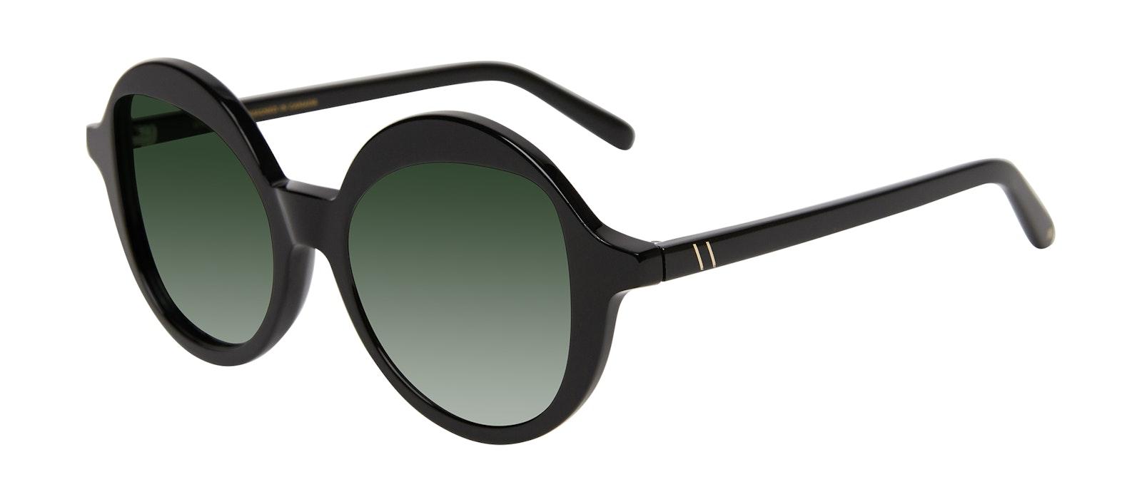 Affordable Fashion Glasses Round Sunglasses Women Stardom Black Tilt