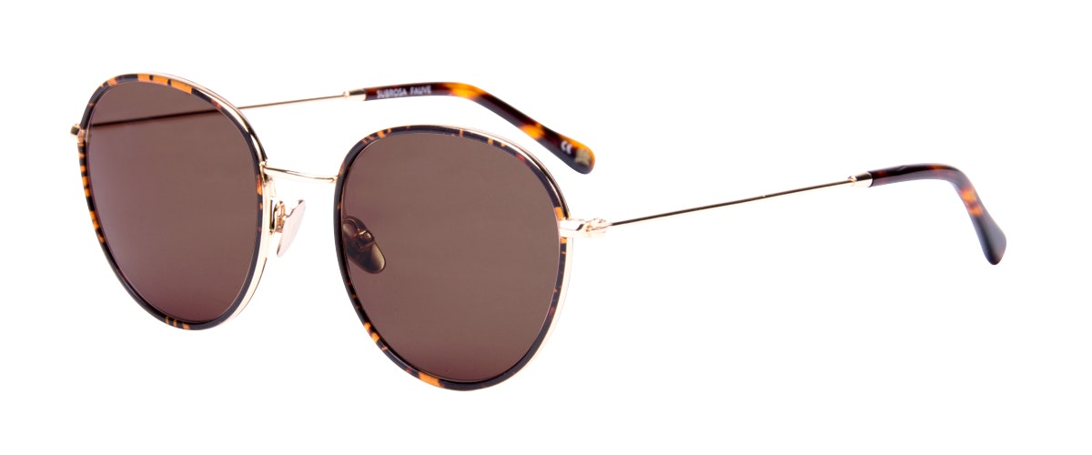 Affordable Fashion Glasses Aviator Round Sunglasses Women Subrosa Fauve Tilt