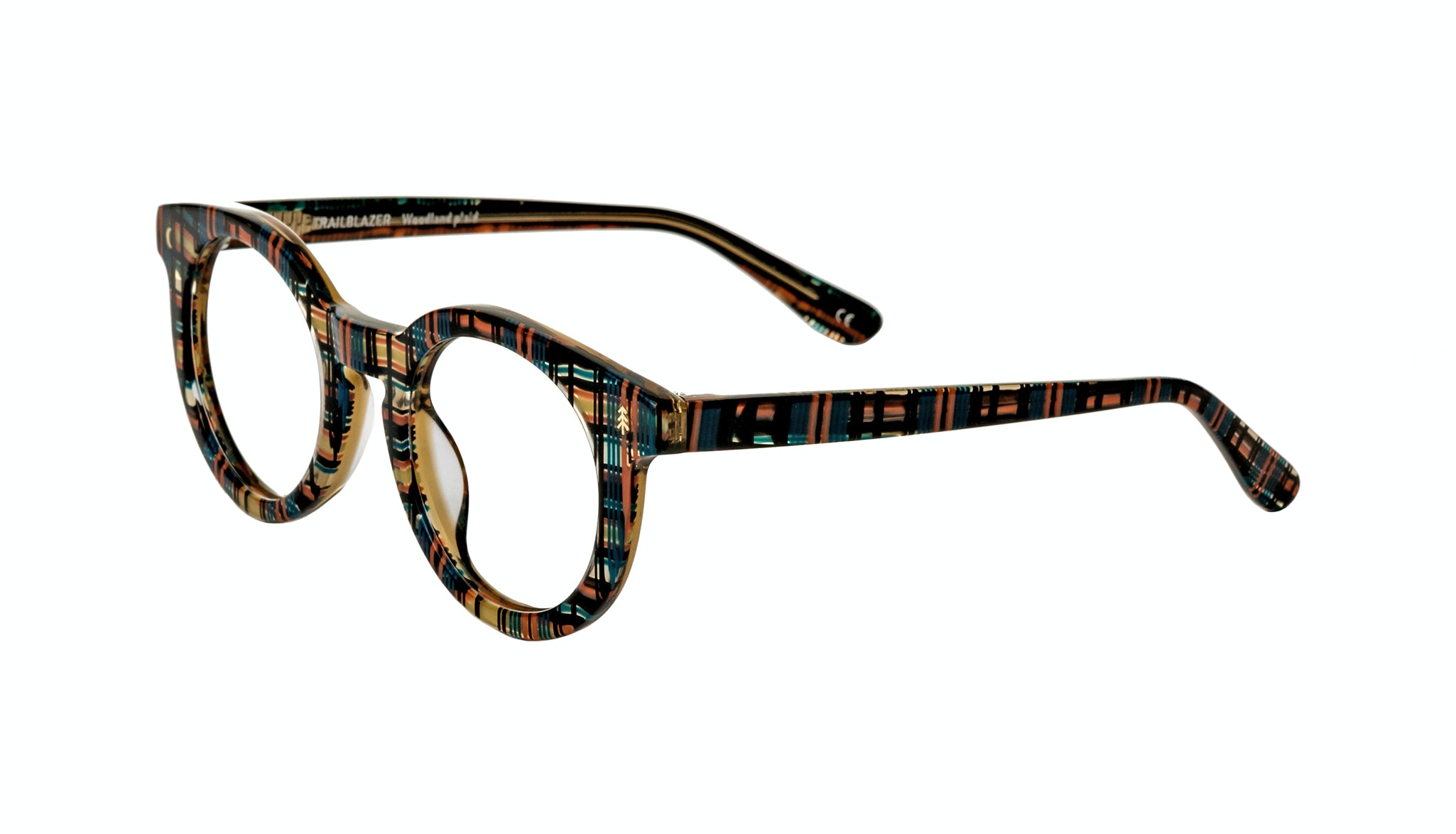 Affordable Fashion Glasses Round Eyeglasses Women Trailblazer Woodland Plaid Tilt