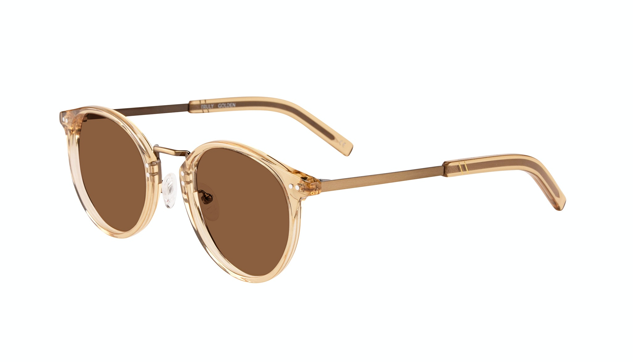 Affordable Fashion Glasses Round Sunglasses Men Truly Golden Tilt