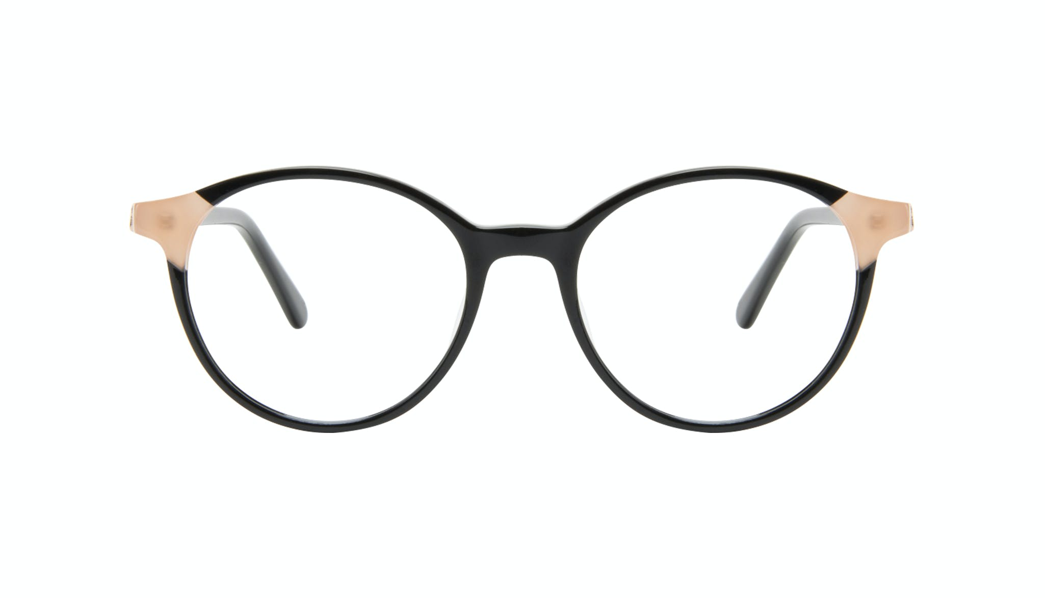 Affordable Fashion Glasses Round Eyeglasses Women Vivid Black Ivory