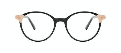 Affordable Fashion Glasses Round Eyeglasses Women Vivid Black Ivory Front