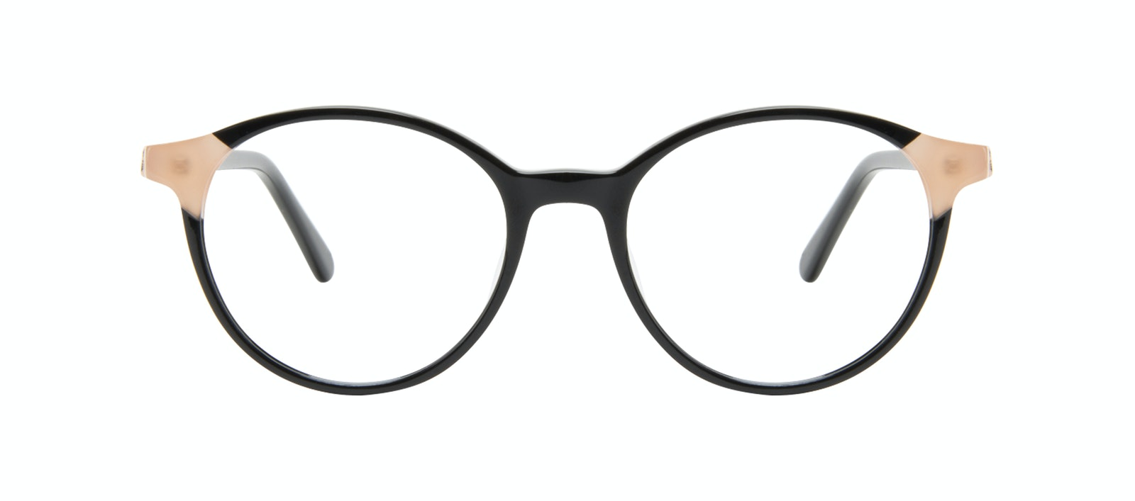 Affordable Fashion Glasses Round Eyeglasses Women Vivid Black Ivory Front