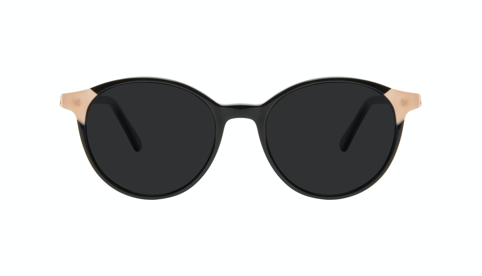 Affordable Fashion Glasses Round Sunglasses Women Vivid Black Ivory Front