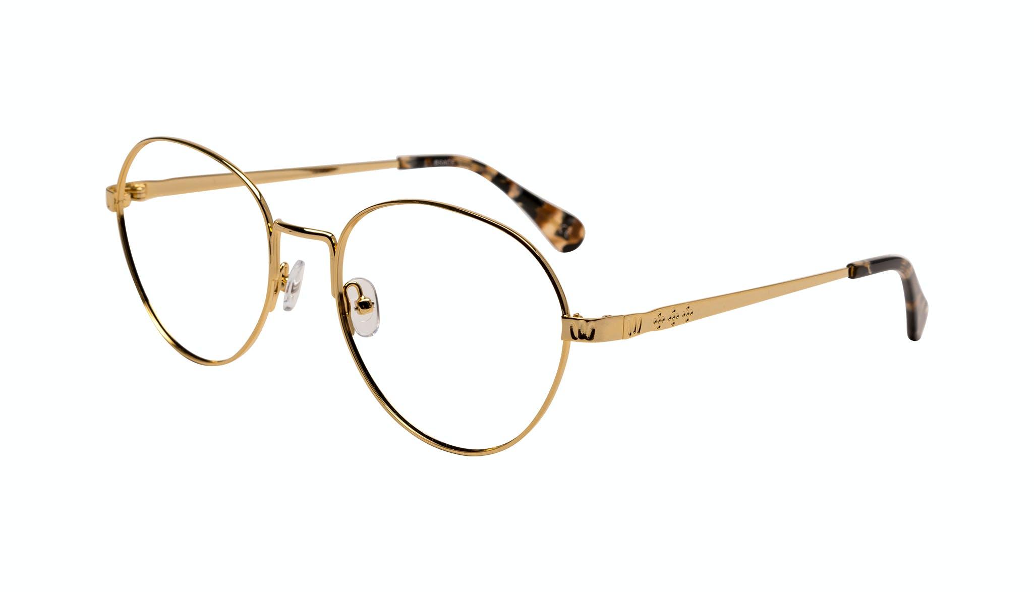 Lunettes tendance Ronde Lunettes de vue Femmes Brace Plus Gold Incliné