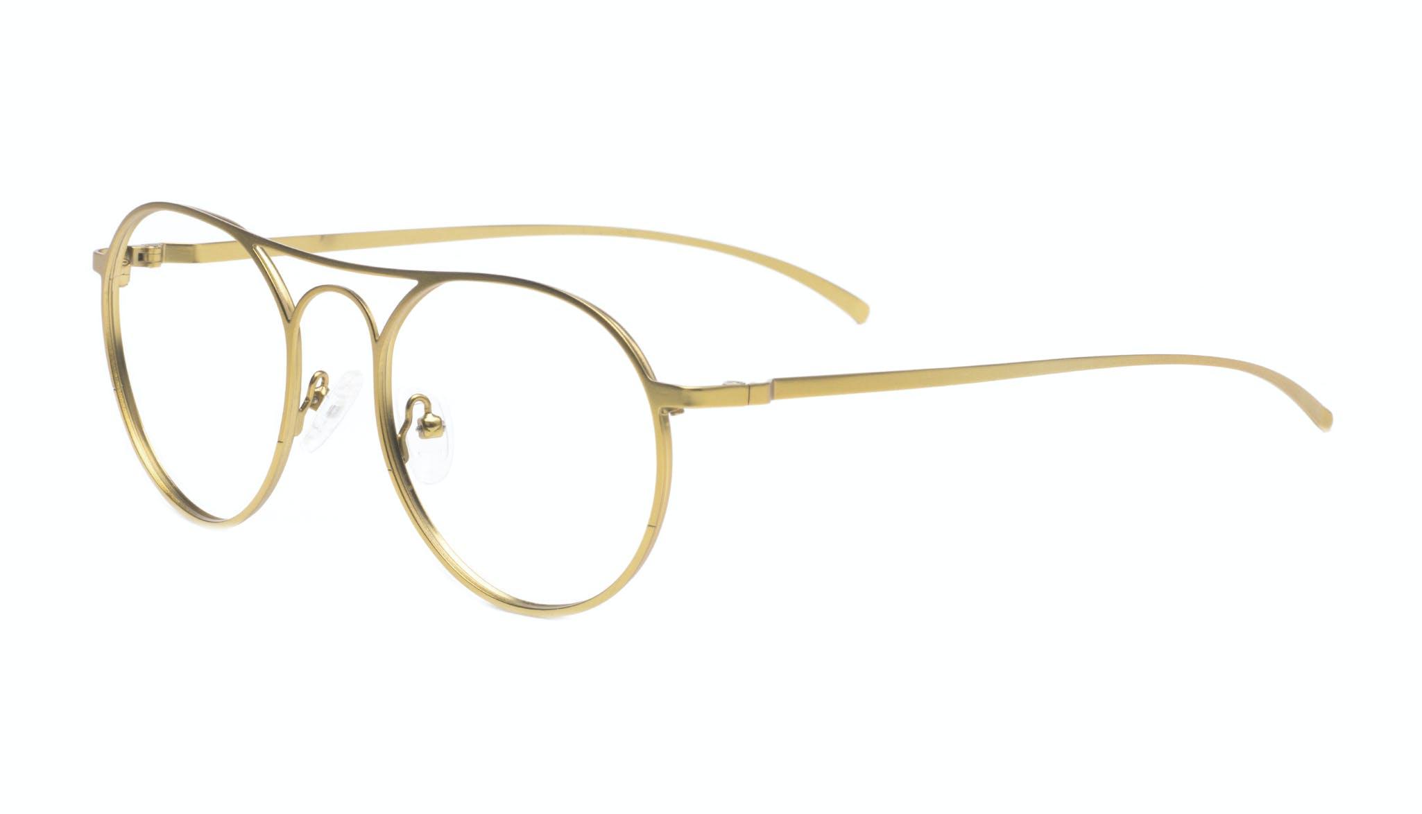 Affordable Fashion Glasses Aviator Round Eyeglasses Men Contour Gold Tilt