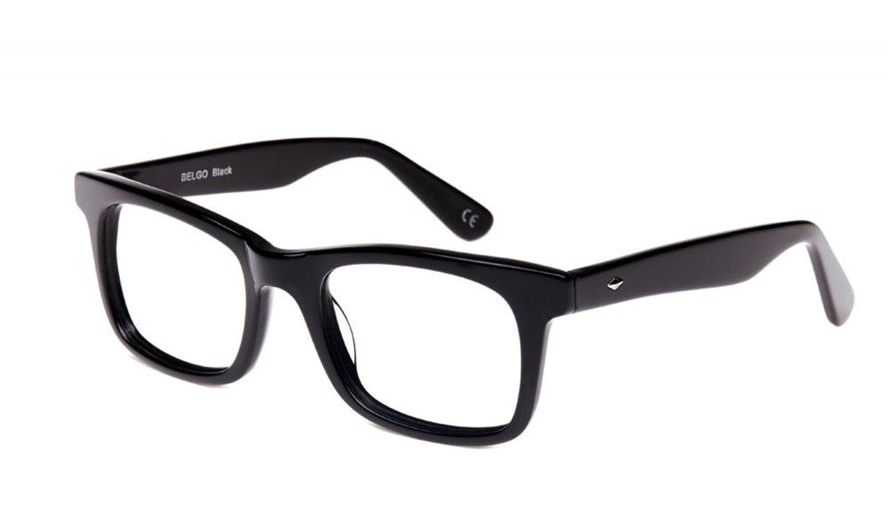 Affordable Fashion Glasses Square Eyeglasses Men Women Belgo Black Tilt