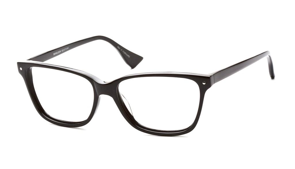 Affordable Fashion Glasses Rectangle Eyeglasses Women Honeybadger Black Tilt
