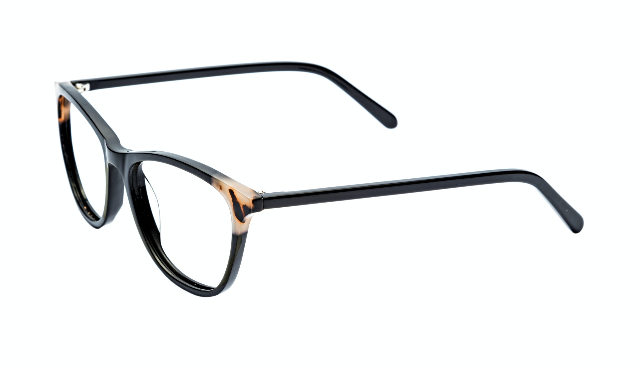 Affordable Fashion Glasses Cat Eye Rectangle Eyeglasses Women Folk Ebony Granite Tilt