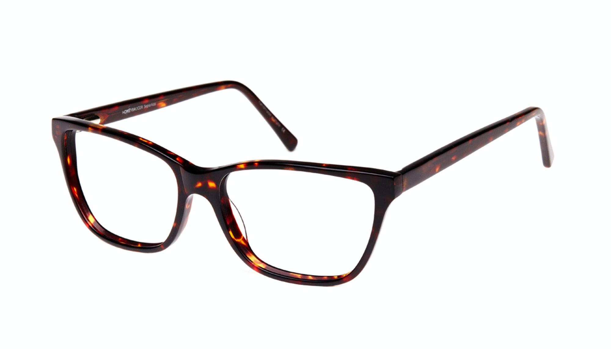 Affordable Fashion Glasses Rectangle Eyeglasses Women Honeybadger Sepia Kiss Tilt