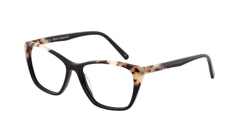 Affordable Fashion Glasses Cat Eye Rectangle Eyeglasses Women Myrtle Ebony Granite Tilt