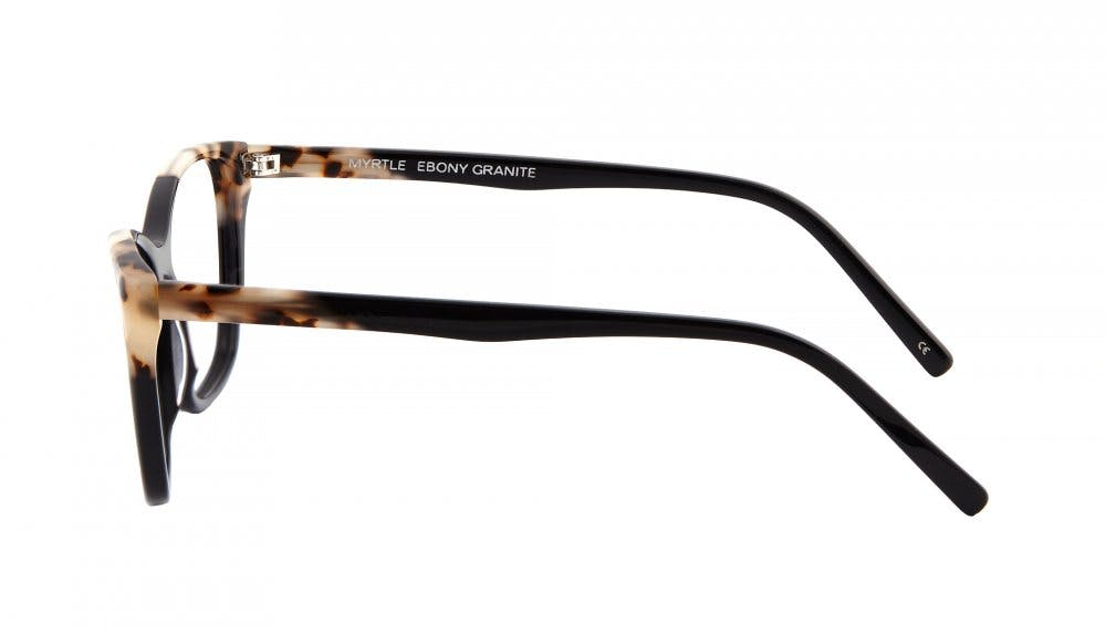 Affordable Fashion Glasses Cat Eye Rectangle Eyeglasses Women Myrtle Ebony Granite Side