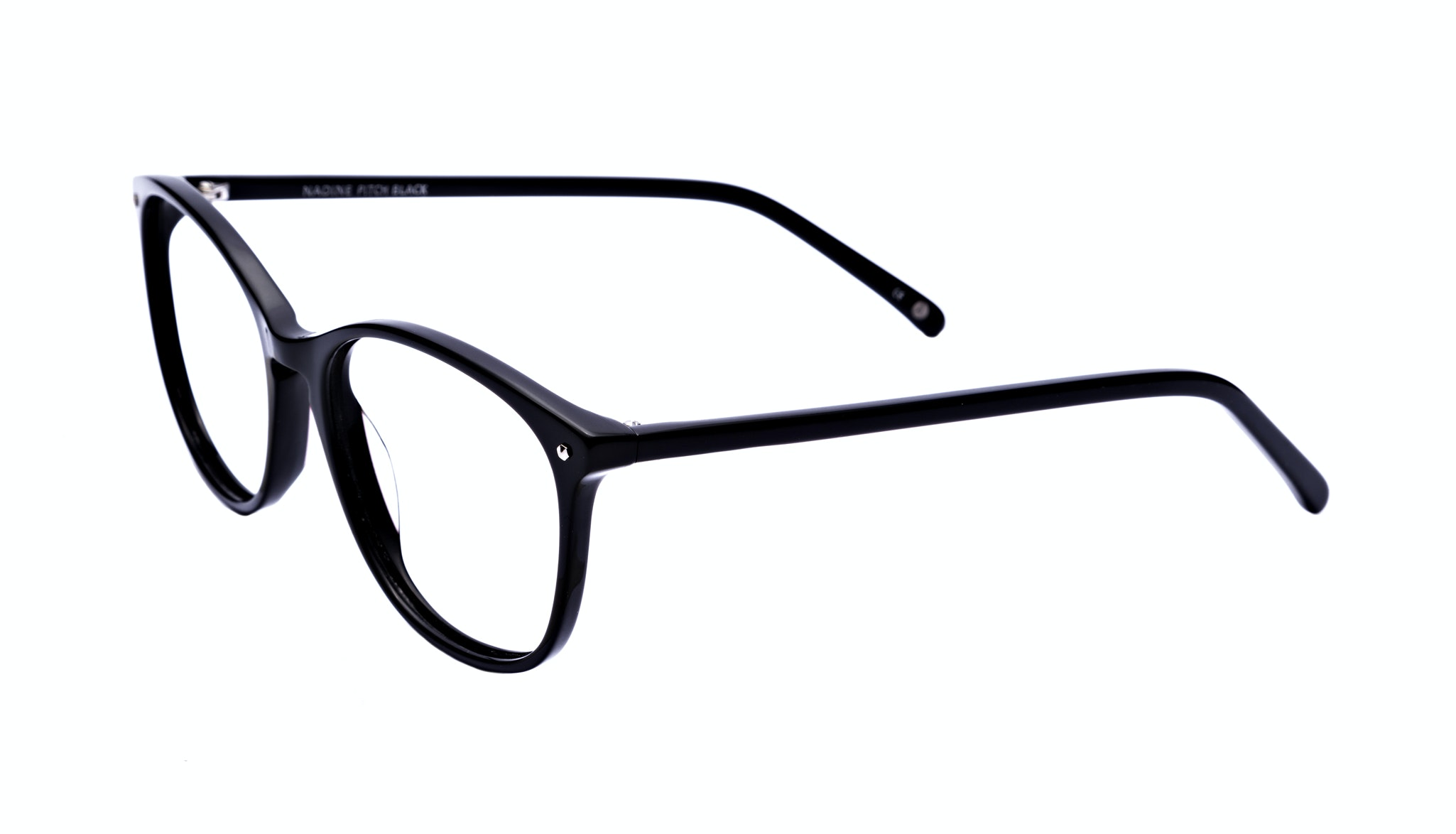 Affordable Fashion Glasses Rectangle Square Round Eyeglasses Women Nadine Pitch Black Tilt