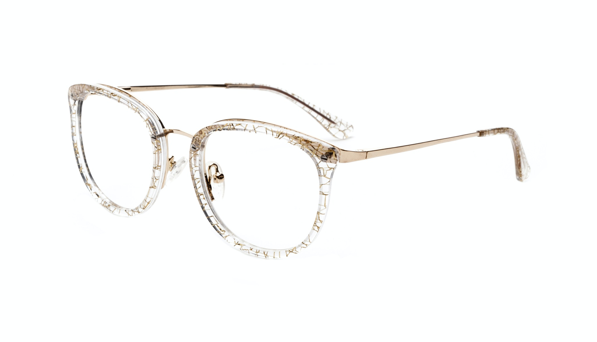 Affordable Fashion Glasses Square Round Eyeglasses Women Amaze Champagne Tilt
