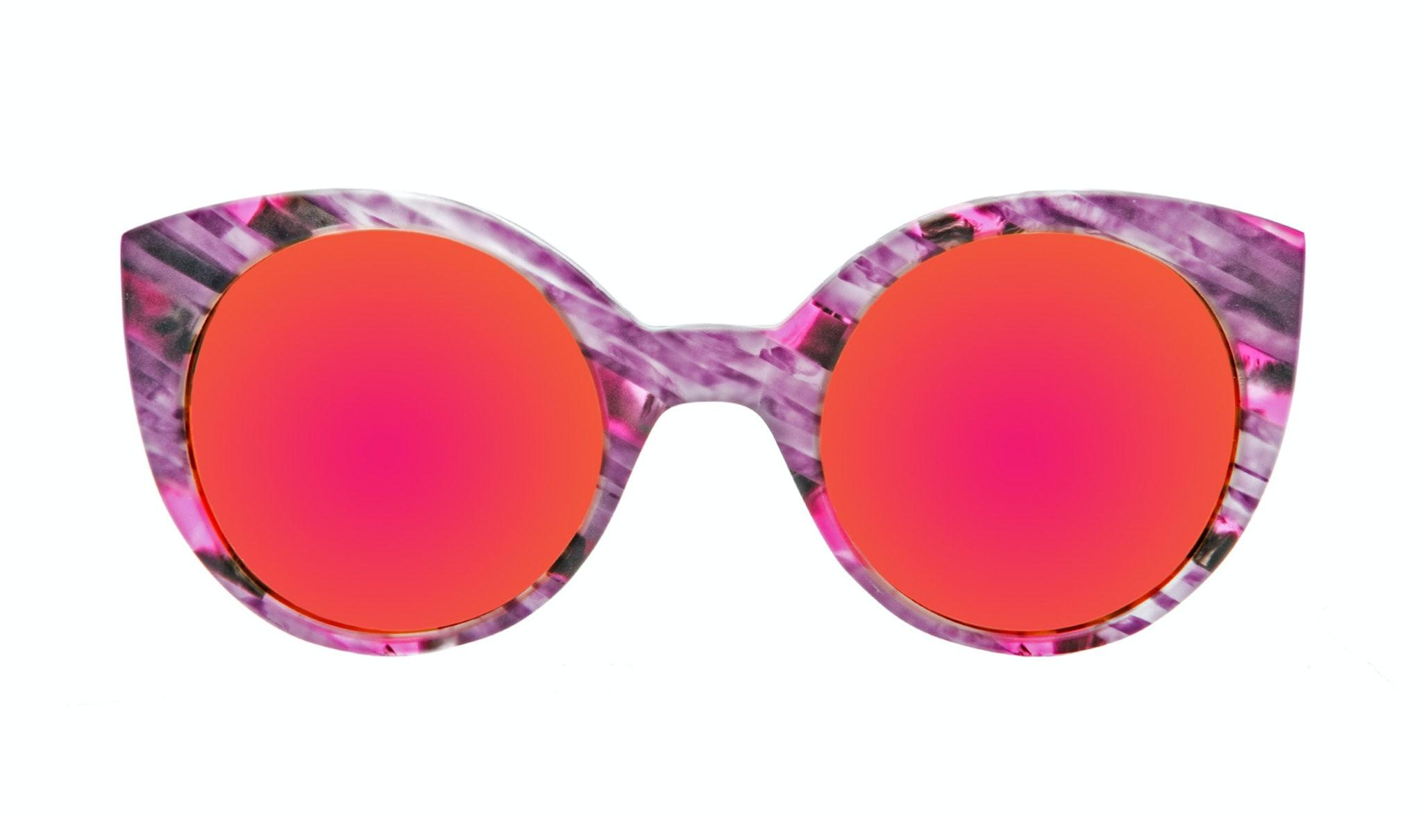 Affordable Fashion Glasses Cat Eye Round Sunglasses Women Eyecandy Pink stripes